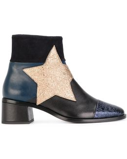 Patchwork Star Ankle Boots
