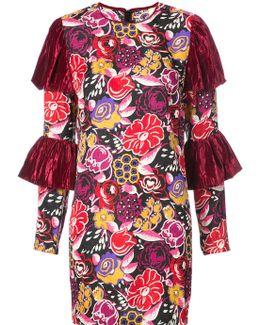Tiered Sleeve Jacquard Dress