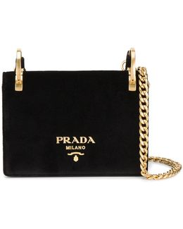Velvet Pattina Bag With Gold Chain