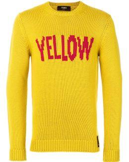 Yellow Slogan Pullover Sweater
