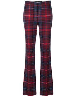 Flared Checkered Trousers