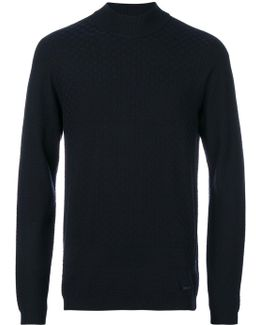 Check Pattern Roll Neck Sweater