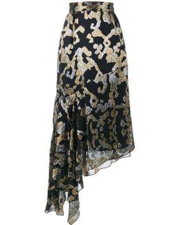 Lurex Pattern Asymmetric Midi Skirt