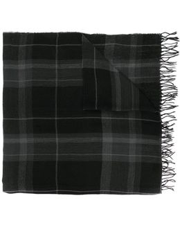 Plaid Scarf With Frayed Edges