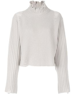 Frill-turtle Neck Knitted Top