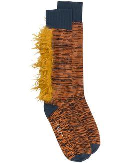 Mélange Socks With Fur Trim