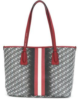 Stripe And 3d Print Tote Bag