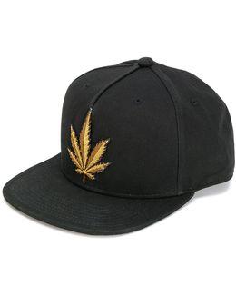 Black Appliqu'd Twill Cap