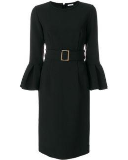 Ruffle Sleeve Belted Midi Dress