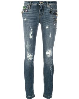 Button Embellished And Brocade Appliqué Distressed Jeans
