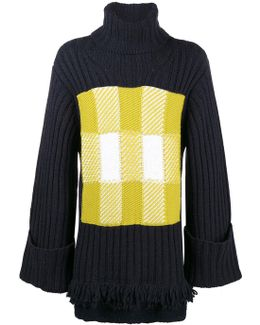 Turtle Neck Check Panel Ribbed Jumper