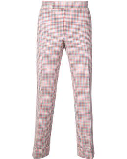Mid-rise Unconstructed Backstrap Trouser In Hopsack Check Double Woven Wool Crepe With Red