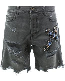 Distressed Jewelled Cross Shorts