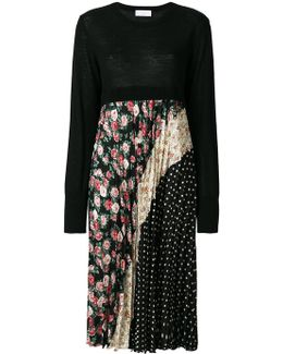 Pleated Dress With Multiprint