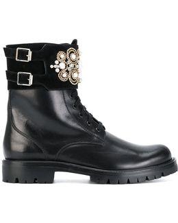 Appliqué Detail Buckled Boots