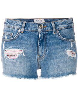 Tommyxgigi Tartan Panelled Distressed Shorts
