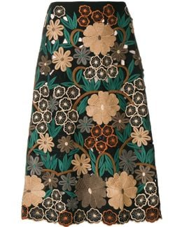 Floral Embroidery Midi Skirt