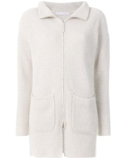 Ribbed Knit Zipped Cardi-coat