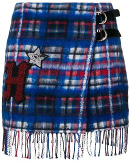 Patch Checked Skirt