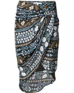 Twist Front Deco Floral Skirt
