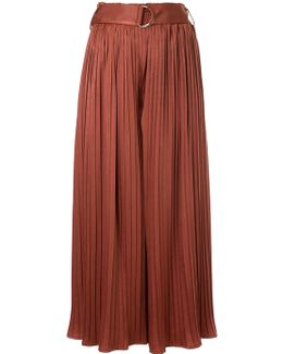 Belted Pleated Palazzo Trousers