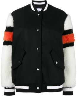 Bomber Jacket With Shearling Sleeves