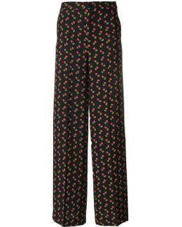 Floral Print Wide Trousers