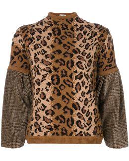 Leopard Print Wool-blend Sweater