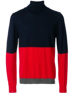 Contrast Colour Roll-neck Sweater