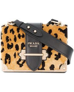 Cahier Leopard Print Velvet Bag