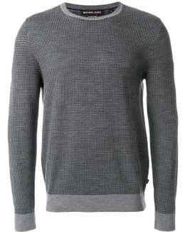 Houndstooth Jacquard Merino Wool Sweater