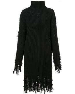 Distressed Turtleneck Dress