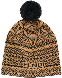 Embroidered Pom-pom Beanie Hat