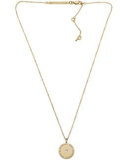 Heritage Logo Disc Necklace Gold-tone