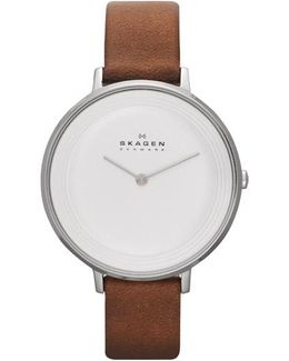 Ditte Leather Watch Silver