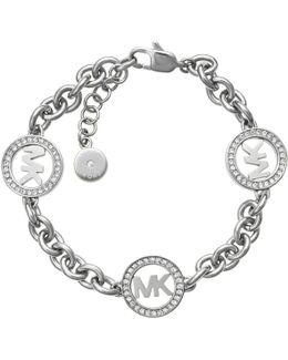 Chain Link Bracelet Logo Silver-tone