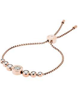 Cubic Zirconia Rosegold-tone Slider Bracelet