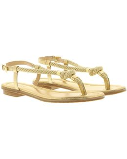Holly Metallic Leather Sandal Pale Gold