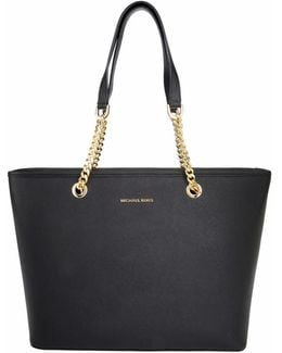 Jet Set Travel Chain Multifunctional Tote Leather Black