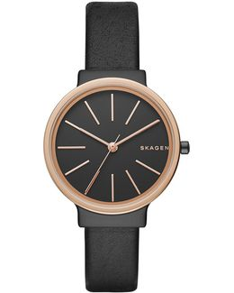 Ladies Ancher Leather Watch Black