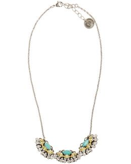 Multi Fan Shape Necklace Turquoise/yellow