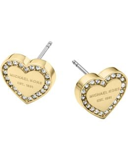 Ladies Brilliance Heart Earrings Gold