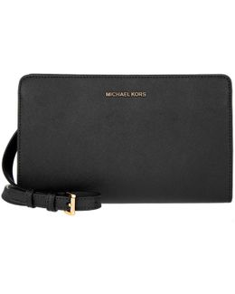 Jet Set Travel Lg Crossbody Clutch Black