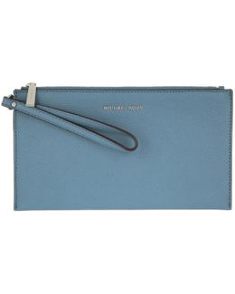 Mercer Lg Zip Clutch Leather Denim