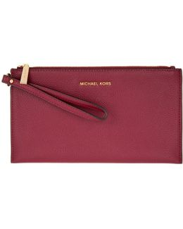 Mercer Lg Zip Clutch Leather Cherry