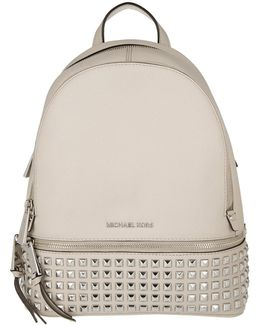 Rhea Zip Md Pyramid Studded Backpack Cement