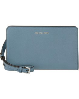 Jet Set Travel Lg Crossbody Clutch Leather Denim