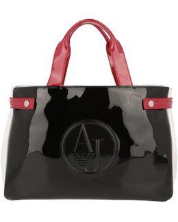 Bicolor Shopping Bag Black/pink/white
