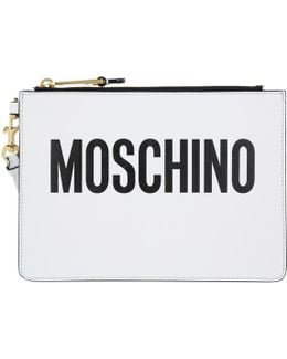 Logo Clutch Leather White
