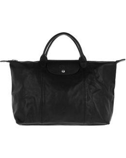 Le Pliage Leather Shopping Bag Black